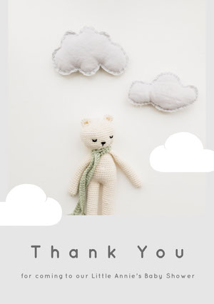 Grey and Teddy Bear Thank You Card Baby Shower Thank You Card