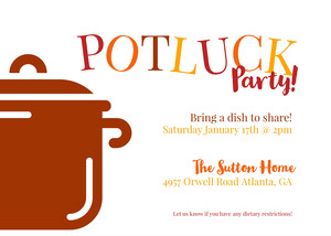 Warm Playful Potluck Invitation Potluck Invitation