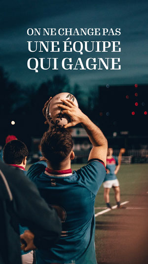 Blue Rugby Winning Team Instagram Story Affiche de motivation