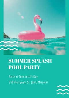Green and White Pool Party Invitation Party