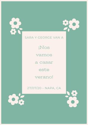 light blue and white floral wedding cards  Invitación de boda