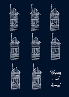 Navy and White Illustrated Happy New Home Card Sweet Home