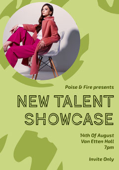 Green New Fashion Talent Showcase Event Flyer Fashion