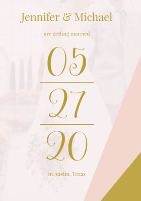 Gold and Pink Elegant Wedding Invitation Card Save the date-kaart
