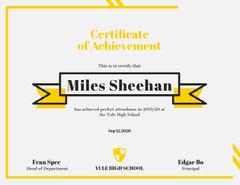 Yellow Ribbon High School Attendance Achievement Certificate Back to School