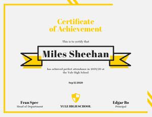 Yellow Ribbon High School Attendance Achievement Certificate Certificate of Attendance