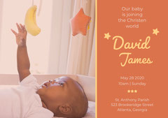 Orange Baptism Announcement and Invitation Card with Baby Boy Boys