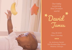 Orange Baptism Announcement and Invitation Card with Baby Boy Invitation de baptême