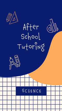 Navy Blue and White School Tutoring Instagram Story After School