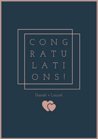 Pink and Dark Blue Minimalist Wedding Congratulations Card with Hearts Wedding Congratulations