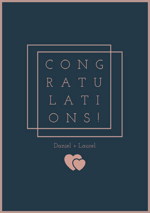 Pink and Dark Blue Minimalist Wedding Congratulations Card with Hearts Felicitaciones de boda