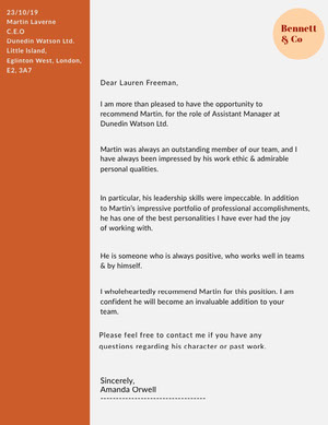 Orange Manager Position Recommendation Letter Carta de recomendación