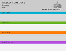 Colorful University Weekly Schedule Aikataulu