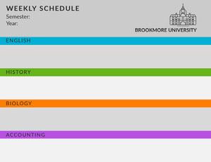 Colorful University Weekly Schedule Weekly Calendar