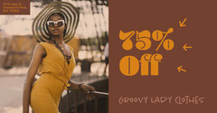 Brown Retro Fashion Store Sale Facebook Post Ad with Model in Hat Groovy