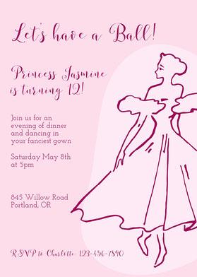 Simple Pink Princess Invitation Invitation d'anniversaire