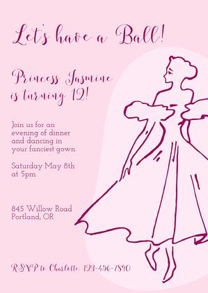 Simple Pink Princess Invitation Princess Invitation