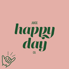Pink and Green Happy Day Juice Logo Instagram Square Juice