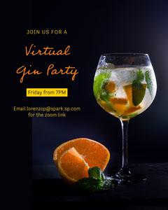 Navy Virtual Gin Party Invite Instagram Portrait  Drink