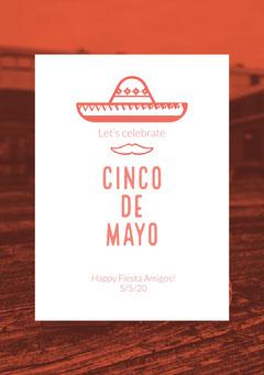 Red and White Cinco de Mayo Party Invitation Celebration