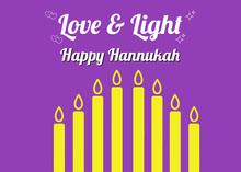 White Yellow and Violet Happy Hanukkah Card Tarjetas
