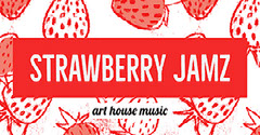 Red and White Music Concert Facebook Event Cover with Strawberries Art