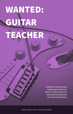 Purple Guitar Teacher Wanted Flyer Job Poster