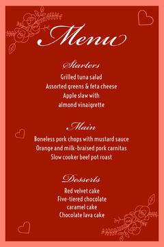 Red Elegant Valentines Day Restaurant Menu Valentine's Day