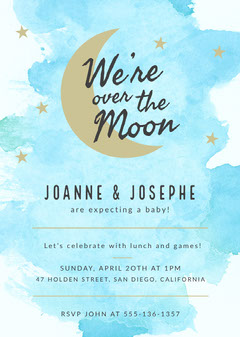We're Over The Moon Baby Shower Invitation Moon