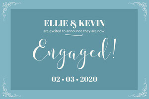 Blue Elegant Calligraphy Engagement Announcement Card Faire-part de fiançailles
