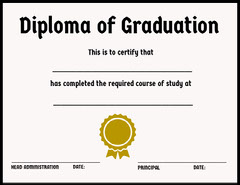 School Graduation Diploma with Ribbon Back to School