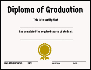 School Graduation Diploma with Ribbon Certificat