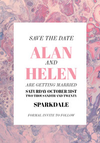 Pink and White Wedding Invitation Carte