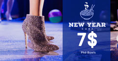 Blue and White Pho Bowl New Year Hangover Cure Ad Facebook Banner Shoes