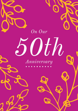 Purple and Yellow Anniversary Card  Biglietto di anniversario