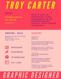 Pink and Yellow Graphic Designer Resume Data Visualization