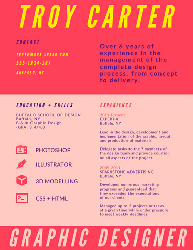 Pink and Yellow Graphic Designer Resume Best Fonts for Your Résumé