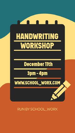 Yellow, Blue & Orange Handwriting Workshop Instagram Story Workshop