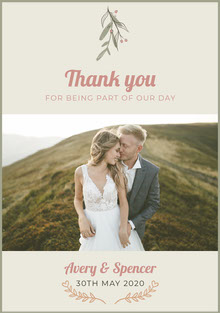 nature wedding thank you card Bryllupstakkekort