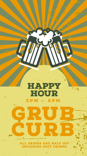 Yellow and Beige Happy Hour Pub Ad Instagram Story Happy Hour Invitations