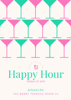 Teal and Pink Happy Hour Invitation Drink