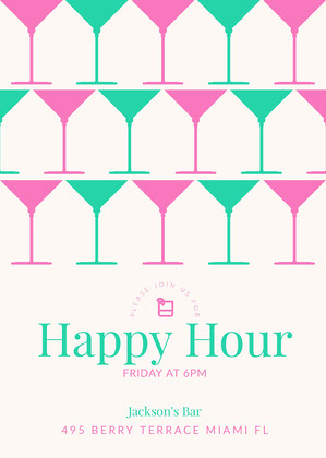 Teal and Pink Happy Hour Invitation Happy Hour Invitations