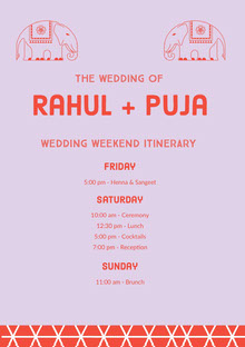 Grey and Pink Wedding Ceremony Program Programa de bodas
