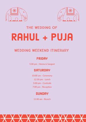 Grey and Pink Wedding Ceremony Program Itinerario