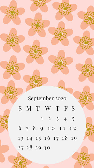 Pink Floral September Calendar Smart Phone Wallpaper Kalender