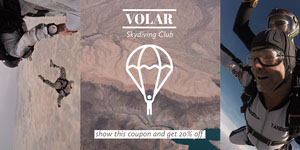 Brown Skydiving Club Discount Coupon with Collage Bon