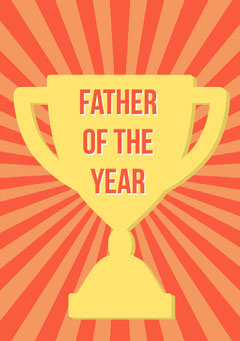 Yellow Fathers Day Card with Award Trophy Seasonal