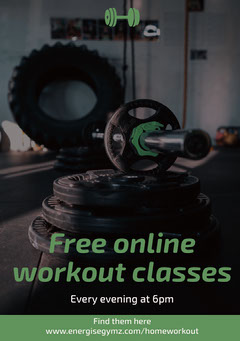 Green Gym Workout Online Class Ad Flyer with Barbell Workout