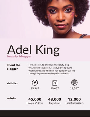Beauty Blogger Media Kit with Photo of Woman with Afro Kit per i media