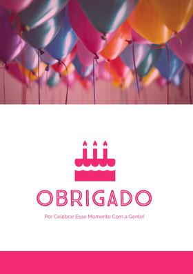 birthday balloons thank you cards  Cartão de agradecimento
